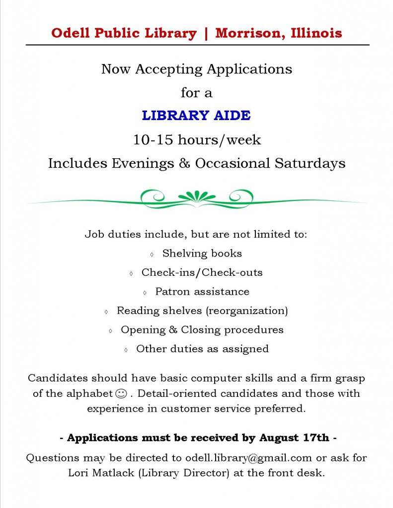 Library Aide position