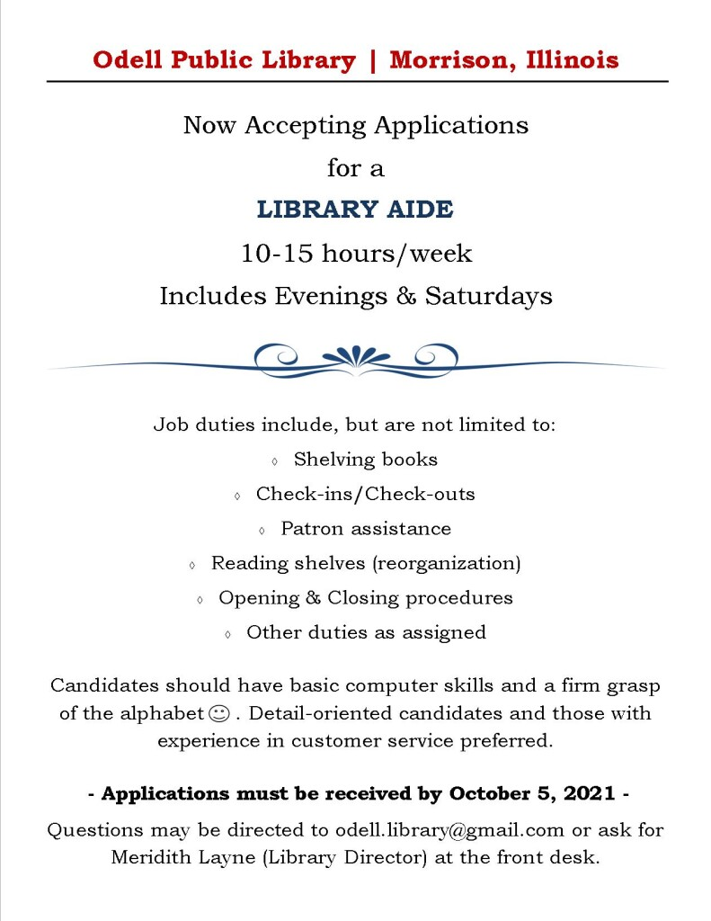 Library Aide position updated oct 2021